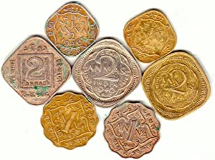 Generic 7 Different British India Coins 2 Annas (3 types)1 Anna (2 types) and 1/2-Anna (2 types) - Silver