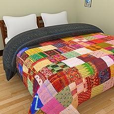 Pure Cotton Filling Double Bed Size Quilt Razai Assorted Silk Kantha Patchwork Double Bed Size Quilt / Winter Quilt, Jaipuri Blanket Comforter/AC Quilt/AC Comforter/Razai