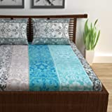 Divine Casa 144 TC 100% Cotton Floral Double Bedsheet with 2 Pillow Covers, Turquoise Color (Double Bed (87 W x 94 L Inch))