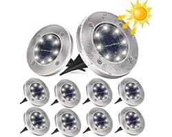 Lampe Solaire Exterieur, DUTISON Lot de 10, Lampe Jardin Solaire 8 LED Lumière Solaire Extérieur Jardin au Sol Extérieur, Eta