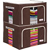 BlushBees® Living Box - Wardrobe Organizer, Cloth Storage Bags with Zip - 55 Litre, Pack of 2, Polka Dots Brown