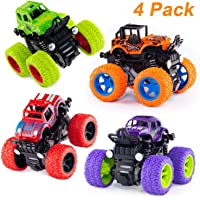 Farraige® 4 Pack 4WD Monster Truck Cars,Push and Go Toy Trucks Friction Powered Cars 4 Wheel Drive Vehicles for Toddlers Children Boys Girls Kids Gift-4PCS