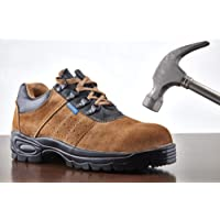 Neosafe A5022_7 Brawn, Sporty Look, Breathable Sued Brown Leather Safety Shoes with Steel Toe, Size 7