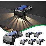 6 Lampe Solaire Escalier Exterieur, Lampes Solaires Exterieures Jardin, Motif Géométrique Chemin Décoratif Éclairage, IP65 ét