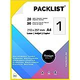 PACKLIST Papel Pegatina para Imprimir, 20 Etiquetas Adhesivas A4 - Etiquetas impresora 210 x 297 mm.20 Hojas, 1 Etiqueta por