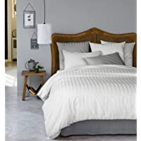 Urban Space - Regal 220 TC 100% Cotton King Size Bed Sheet with 2 Pillow Covers, Sateen Stripes, White bedsheet, 108 inch x 108 inch bedsheet