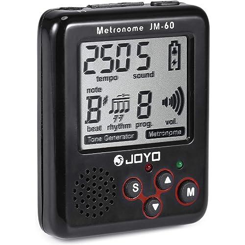 JOYO@TM Mini Metronomo Cancella Suono Generatore Tone Auto-off con Batteria Ricaricabile USB e 4 Accessori per Chitarra Ukulele Violino Piano Drum Nero