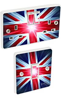 BEDROOM LIVING ROOM DECOR Blank Sockets Landing Designs GRUNGE UNION JACK- UK LIGHT SWITCH STICKERS UPC2055