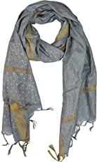 YOUTHQUAKE Women's Silk Dotted Block Print Dupatta With Golden Border