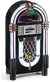 Karcher JB 6608D Jukebox (mit Plattenspieler - CD-Player und Bluetooth Audio Streaming, UKW und DAB+ Radio mit Senderspeicher, MP3-Wiedergabe via USB oder SD-Karte, Lightshow) schwarz