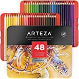 Arteza Colored Pencils, Professional Set of 48 Colors, Soft Wax-Based Cores, Art Supplies for Drawing Art, Sketching, Shading