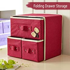 TIED RIBBONS 2 Layer-3 Drawer Foldable Fabric Storage Box Socks Bra Underwear Makeup Cosmetics Closet Organizer Collapsible Cabinet Drawers