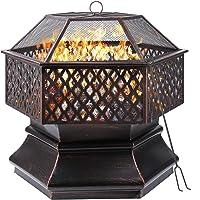femor Feuerschale, 66x66x63cm, 26 '' Sechseckige Feuerstelle Garten, Feuerkorb mit Grillrost, Funkenschutzgitter…