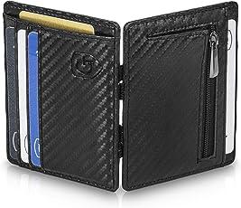 GenTo Magic Wallet Monte Carlo - Carbon-Optik - mit Münzfach und RFID Schutz - Kleine magische Geldbörse - Innovatives Geschenk für Herren - mit Geschenkbox | Design Germany