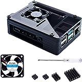 Bruphny Case per Raspberry Pi 4 con 35mm Ventola di Raffreddamento, 4 x Aluminum Dissipatore, Compatibile con Raspberry Pi 4 Modello B (Ventola Grande + dissipatore Grande)-Nero