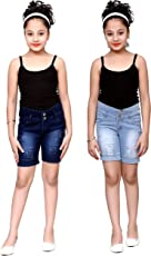 FNocks Girls STREACHABLE Denim Casual WEAR Shorts (Combo of 2)