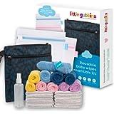 Little Gubbins 20 Reusable Baby Wipes Essentials Kit   Multipack of 10 Microfibre Cloths, 10 Bamboo Cotton Squares Plus…