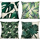 Bonhause Tropical Leaves Cushion Covers 18 x 18 Inch Set of 4 Green Leaves Decorative Throw Pillow Covers Cotton Linen Square