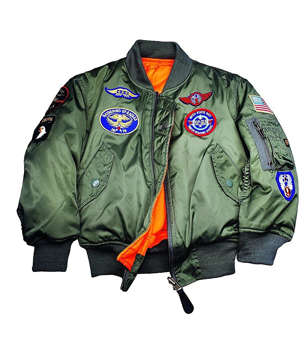 Alpha Industries MA-1 Patch Youth Transition Coatt: Amazon.co.uk ...