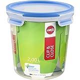 Emsa 508553 Boîte alimentaire ronde avec couvercle, 2.0 Litre, Transparent (bleu)
