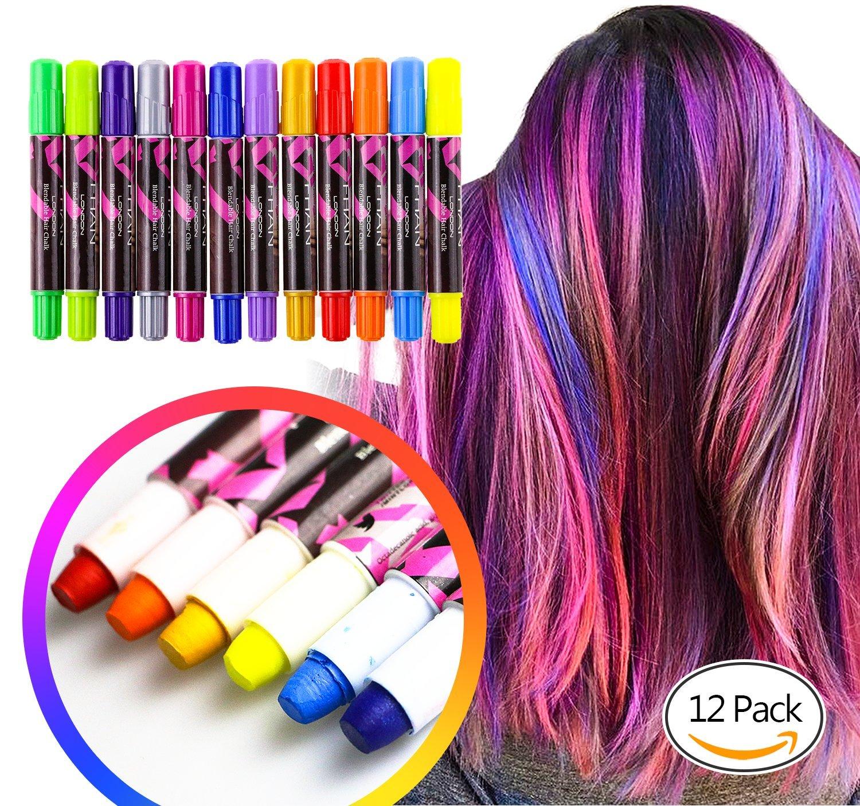 Uneede Hair Chalk Pens Temporary Pastel Hair Chalk Set Colour Hair