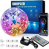 LED Strips 6M, SHOPLED Bluetooth Music Sync SMD 5050 RGB Led Verlichting met App Bediening, 44 Toetsen Afstandsbediening voor