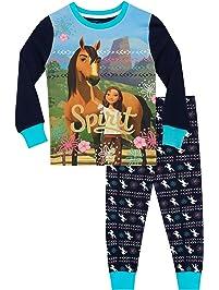DreamWorks Pijamas de Manga Larga para niñas Spirit Riding Free Ajuste Ceñido