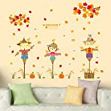 Amazon Brand - Solimo Wall Sticker for Kids' Room (Scarecrow Stories, Ideal Size on Wall: 124 x 100 cm)