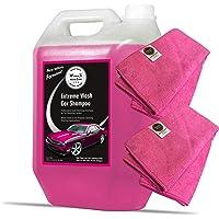 Wavex Car Shampoo Extreme Wash 5 LTR with Two Pcs Microfiber Cloth 40x40cm 340gsm Also Works as Foam Wash Shampoo