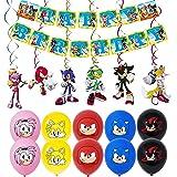smileh Decoracion Cumpleaños de Sonic the Hedgehog Globos Feliz Cumpleaños del Pancarta Colgando Remolinos Decoraciones para