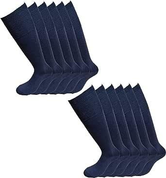 Fontana Calze, 12 paia di calze lunghe in caldo cotone elasticizzate confortevoli e rinforzate su punta e tallone. Prodotto Italiano.