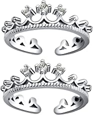Om Jewells Rhodium Plated Princess Crown Adjustable Toe Ring Made with Cz Stone for Girls and Women TR10001001