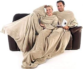 CelinaTex TV-Decke Kuscheldecke mit Ärmeln XXL Mikrofaser Fußtasche Ärmel Wolldecke Fleece