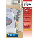 AVERY - Intercalaires à onglets personnalisables et imprimables12 touches, Format A4, En polypropylène coloré translucide