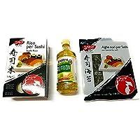 Kit per Sushi - Riso per Sushi Biyori 1 kg + Aceto di Riso per Sushi Tamanoi 500 ml + Alghe Nori per Sushi 25 g
