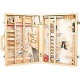 """small foot 2241 Mallette à outils """"Deluxe"""" en bois, avec accessoires comme marteau, scie, rabot etc. 48 pièces, à partir de 3"""
