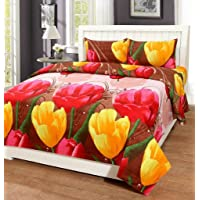 HFI 140 TC Polycotton Floral Printed Double Bed Sheet with 2 Pillow Cover - Multicolor
