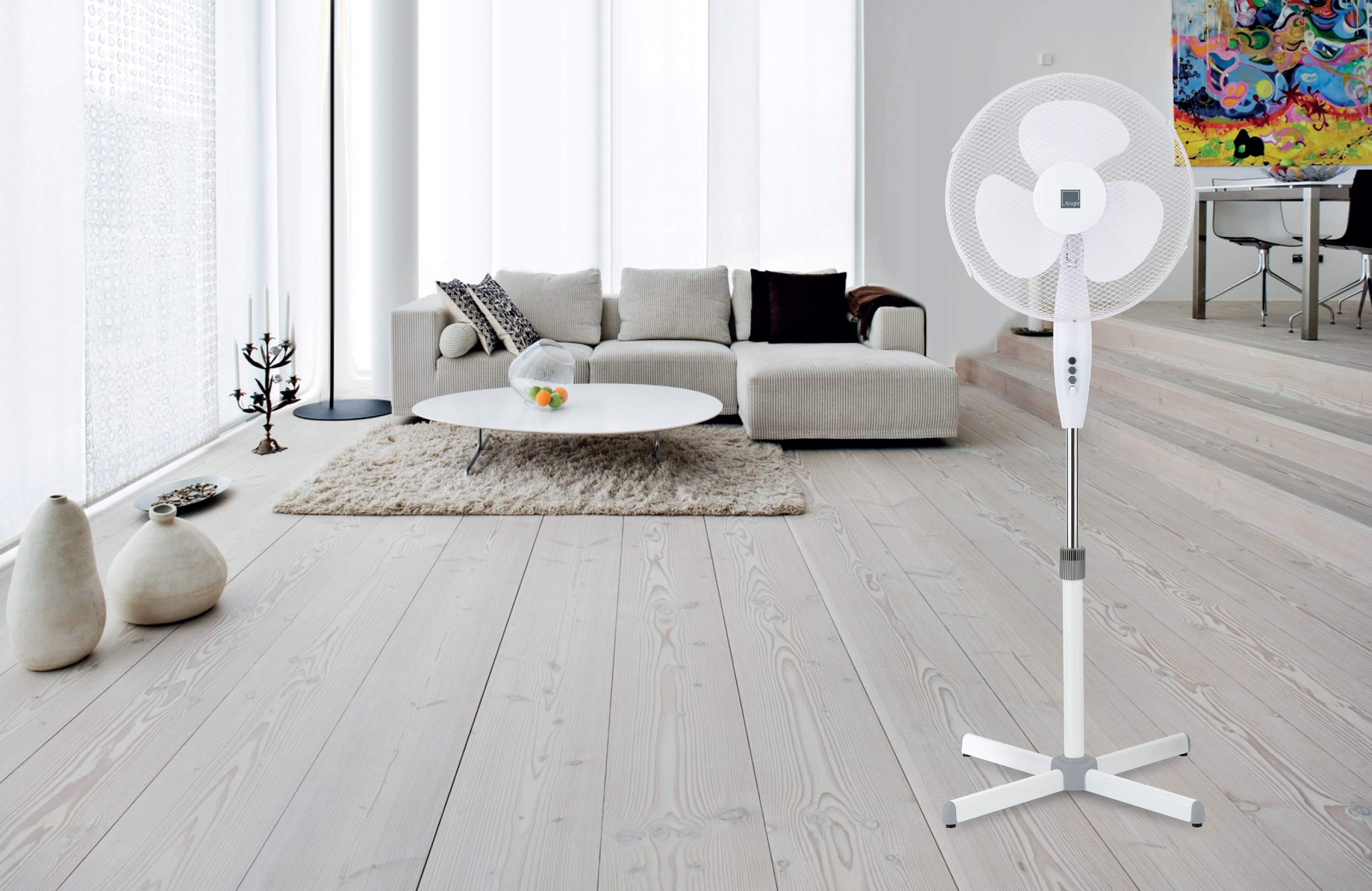 "81L9cZE2bhL - Knight 16"" Fan Pedestal Stand High Performance 140cm Adjustable Height, 3 Speed Setting, Extra Wide Cross Base, Oscillating, Tilting Head (White)"