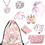 ZCOINS Unicorn Gifts for Girls, Pink Drawstring Bag Coin Purse Makeup Bag Necklace Bracelet Hair Accessories Bag Charms…