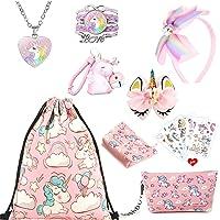 Einhorn Geschenke für Mädchen, rosa Kordelzug Geldbörse Make-up Tasche Halskette Armband Haarschmuck Taschenanhänger und…