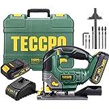 Seghetto Alternativo a Batteria, TECCPO 2 × 2.0Ah Batterie 18V, 1 Ora Ricarica Rapida, Illuminazione LED, 0~2300 RPM, Angolo