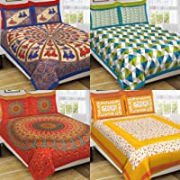 MSKS 100% Cotton 4 Double bedsheet with 8 Pillow Covers Cotton, 144 TC Floral bedsheet for Double Bed Cotton (7.3ft x 7…