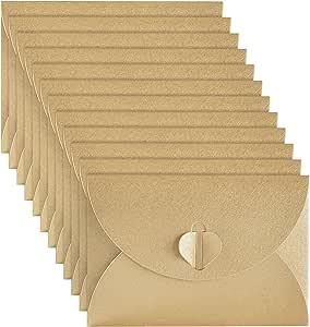 50 Pezzi Buste di Carta Kraft Mini Carta di Regalo Busta con Chiusura a Cuore per le Carte Regalo di Natale Regalo San Valentino Bricolage Craft Rosso