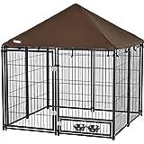 Pawhut Parque para Perros con Toldo Perrera Metálica de Exterior con Soporte Giratorio para Comida 2 Cuencos Incluidos y Cerr