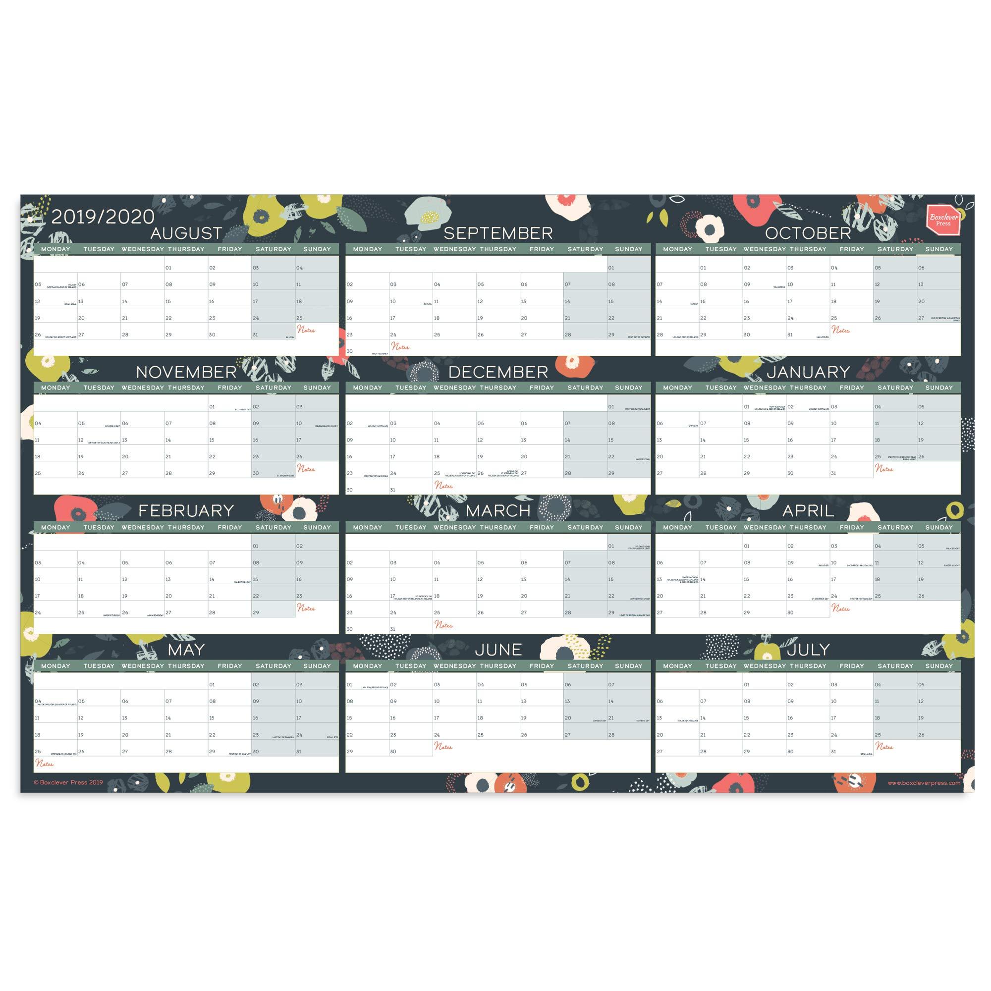 Calendario Di Agosto 2020.Calendario 2019 Da Muro Di Boxclever Press Planner Da Parete Perfetto Per Qualsiasi Casa Scuola O Ufficio Planner 2019 2020 Con Formato Blocco