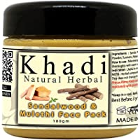 Khadi Natural Herbal Sandalwood And Mulethi Face Pack Mask | For Glowing And Brightening Skin Pack 180gm