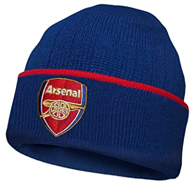 e19c54d4c5d48 Arsenal FC Official Football Gift Knitted Bronx Beanie Hat Navy Red Trim   Amazon.co.uk  Clothing