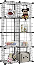 House of Quirk Stainless Steel Storage Cubes Organizer, Black (8CUBE_Iron_CAB)