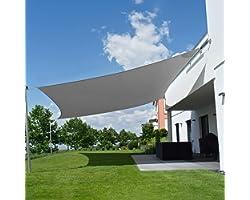 Voile d'Ombrage Rectangulaire 4x5 m, Toile Ombrage en Polyester Résistant aux Déchirures, Anti UV, Résiste à l'Humidité, étan