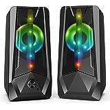 16W Casse PC Gaming Imdwimd Altoparlante USB Stereo Speakers RGB LED Cassa One Touch per regolare il volume Perfetto per Scho